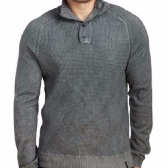bba304e8ca09 Calvin Klein Mens Waffle Mock Neck Cotton Sweater